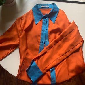 Prada button blue and orange button down!